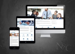 Consortiem enables meaningful vendor discounts for businesses by aggregating purchasing volume for its clients. Photo shows their Houston based company's web development project which includes responsive views for mobile and tablet viewing.