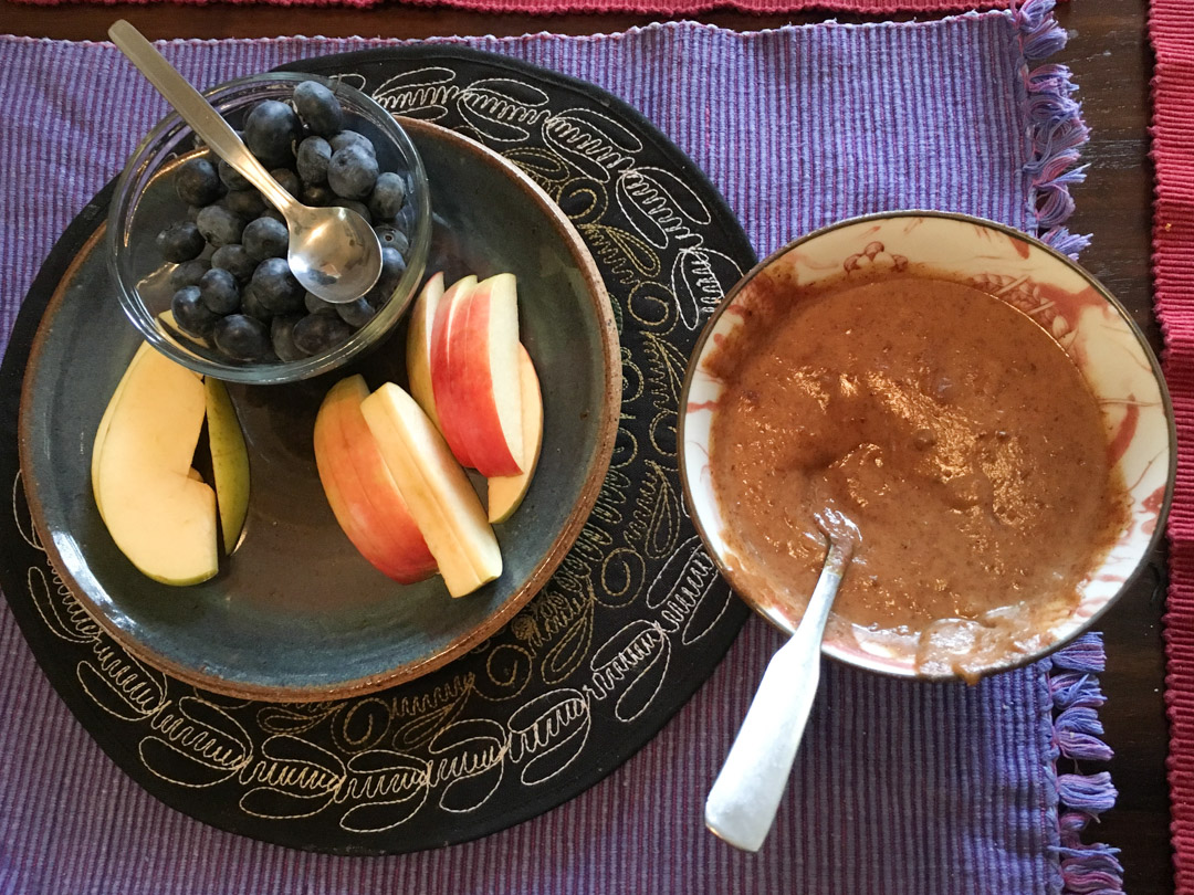 Snack - almond butter w/maple syrup & cinnamon, apples and blueb