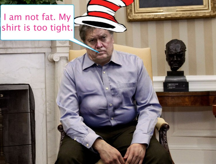 Bannon in tight shirt, not fat
