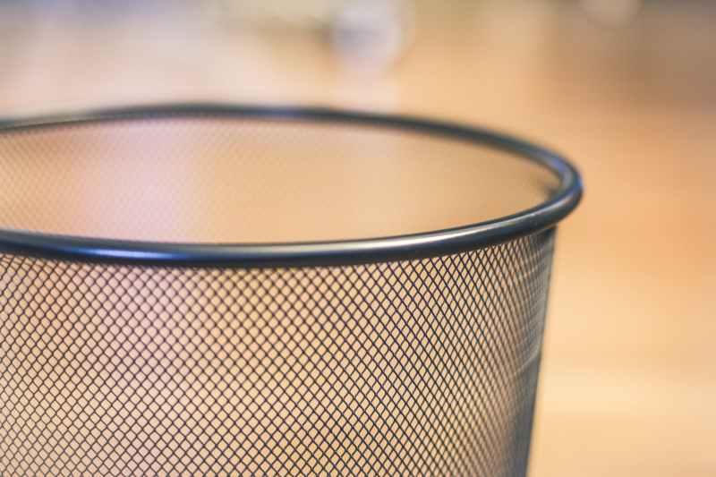 gray metal mesh cup