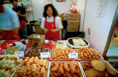 Hong Kong, barrio Jau Mau Tei, mercado, comida rápida