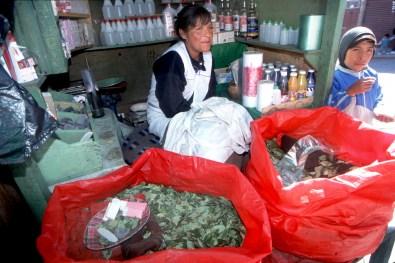 Bolivia, Potosi,venta de hojas de Coca para trabajadores de la mina, retrato