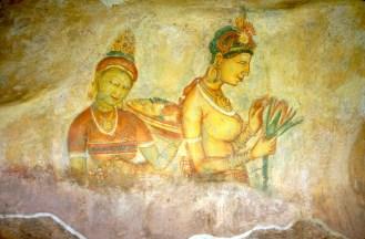 Sri Lanka, Sigiriya, templo de la roca, Frescos, mural