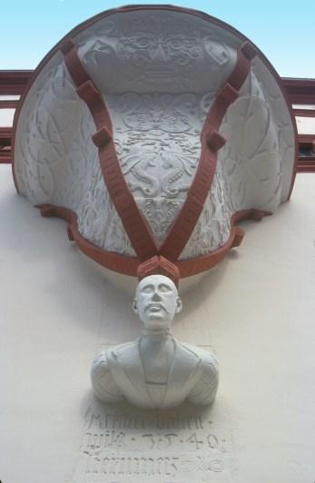 Alemania, Turingia, Erfurt, residencia del gobernador, escultura