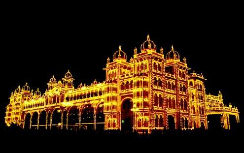 India, Mysore, Fiesta de Dussehra, Karnataka, nocturno