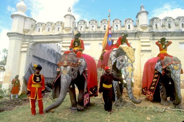 India, Mysore, Fiesta de Dussehra, Karnataka, elefantes para el desfile, animal