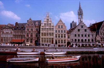 Bélgica, Valonia, Gante, río Leie