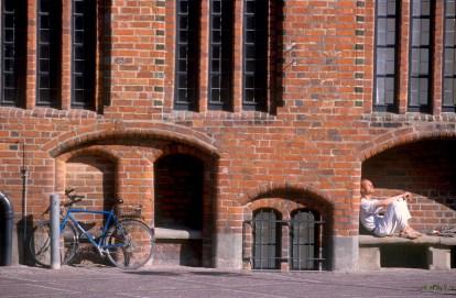 Alemania, Baja Sajonia, Hannover, antiguo Ayuntamiento, bicicleta