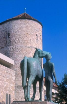Alemania, Baja Sajonia, Hannover, murallas, escultura