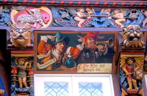 Alemania, Baja Sajonia, Hildesheim, casa de los carniceros, mural