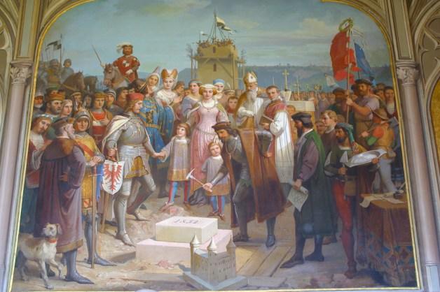 Alemania, Baden-Wurtemberg, Hechingen, castillo Hohenzollern, pintura construcción del castillo