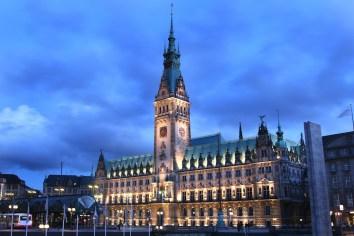 Alemania, Hamburgo Ayuntamiento, nocturno