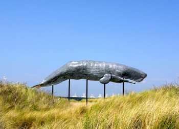 Holanda, Zelanda, Burg-Haamstede , Parque Acuático Neetlje Jans, escultura de ballena