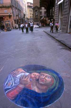 Toscana, Florencia, Calle Por Santa Maria, Pintura Mural,