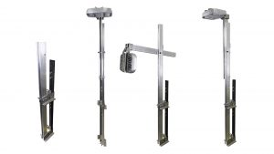 Nemalux ARTSU Articulating Strut lighting pole assembly with optional handrail Clamp mounting option