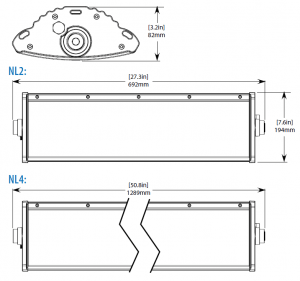 Dimensional drawings of Nemalux NL series linear industrial LED luminaire, IP66, marine and hazardous location class I div 2 (c1d2) approved and replacement for linear fluorescent light fixtures