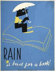 WPA poster shows a boy with an umbrella sitting on an open book.