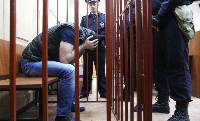 MOSCOW, RUSSIA. APRIL 6, 2015. Shadid Gubashev, suspected of being involved in the murder of Russian politician Boris Nemtsov, appears at Mosow's Basmanny District Court for a reconsideration hearing into the investigators' bid for the arrest of Nemtsov murder case suspects. Earlier all the suspects asked the court to revoke the arrest warrant and impose a pre-trial restraint without taking them into custody. Mikhail Pochuyev/TASS