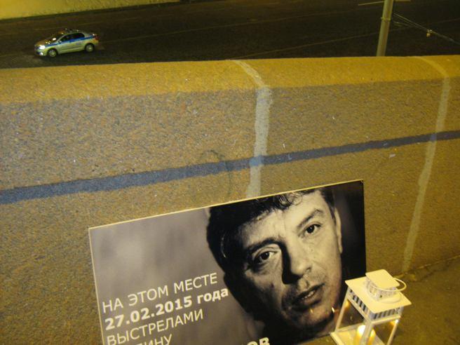 04.02.2017 Утреннее дежурство на мосту Немцова. После погрома. Полиция на страже