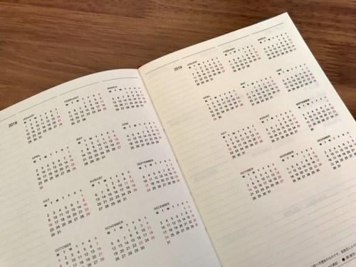 コーテッド、年間カレンダーページ