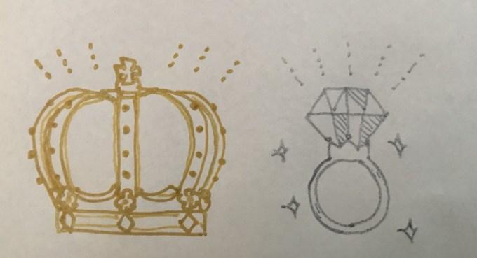 金銀ペン白い紙に描いた絵