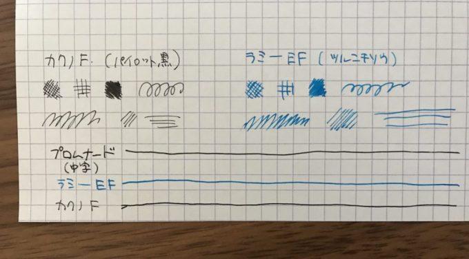 プロムナード中字の太さ比較