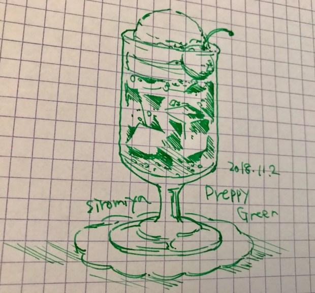 プレピーのグリーンで描いた絵