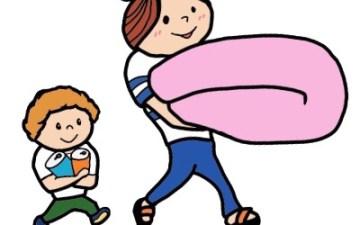 ふとん 運ぶ 子ども 親子