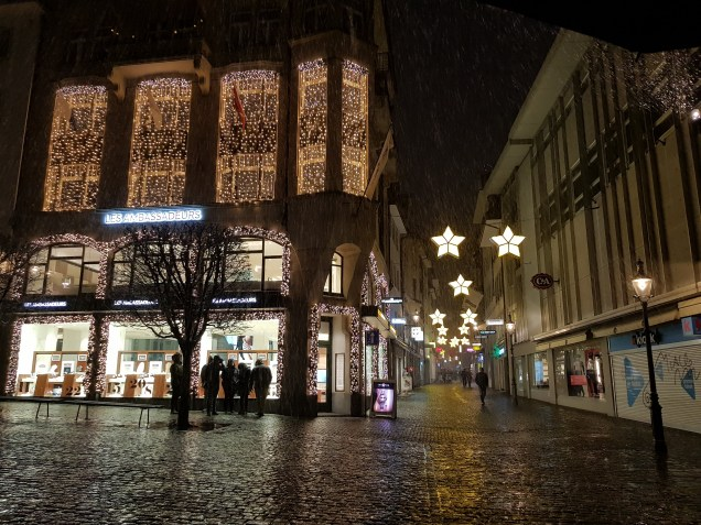Street with Christmas lights in Lucerne