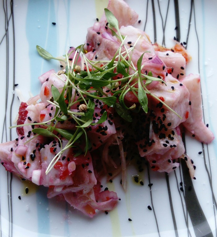 Photograph of Fish Recipe One: Sea Bream Ceviche with Blood Orange and Fennel Salad on a plate.