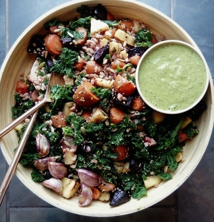 Freekeh and Roasted Veg Salad with Wild Garlic and Spring Onion Dressing