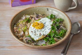Miso, Barley Porridge with Winter Greens and Fried Egg