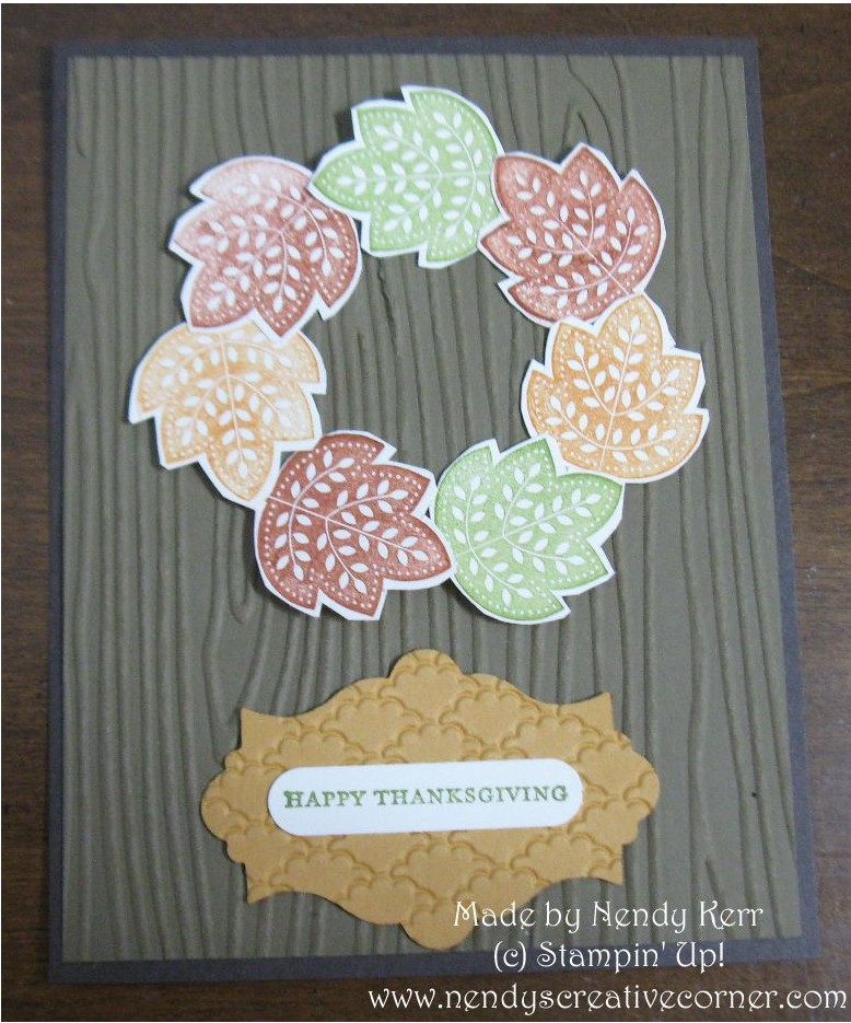 Day of Gratitude Leaf Wreath Thanksgiving card