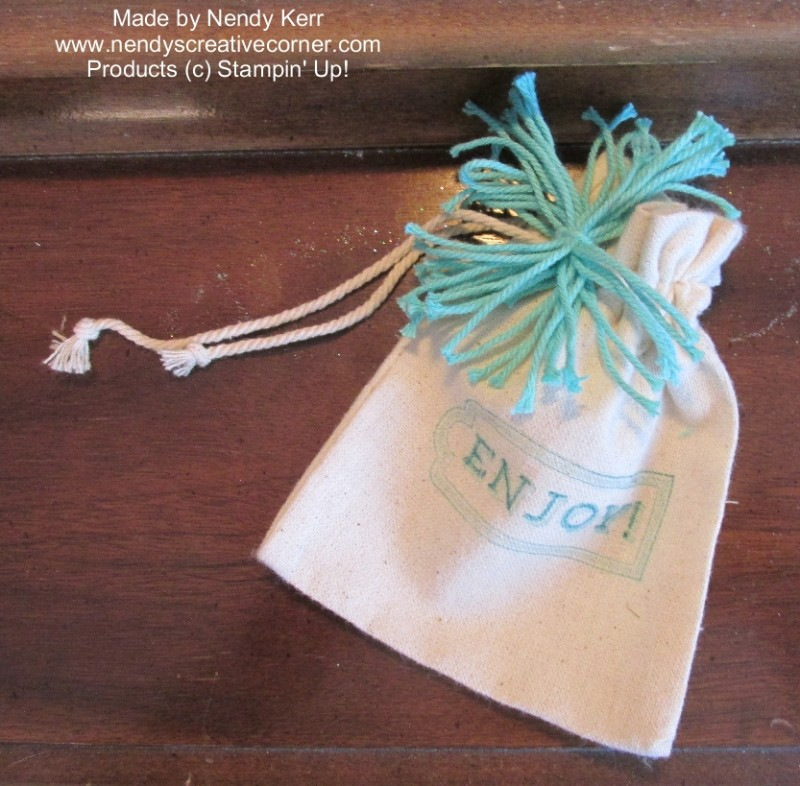 Mini Muslin Bag with Thick Baker's Twine Pom Pom