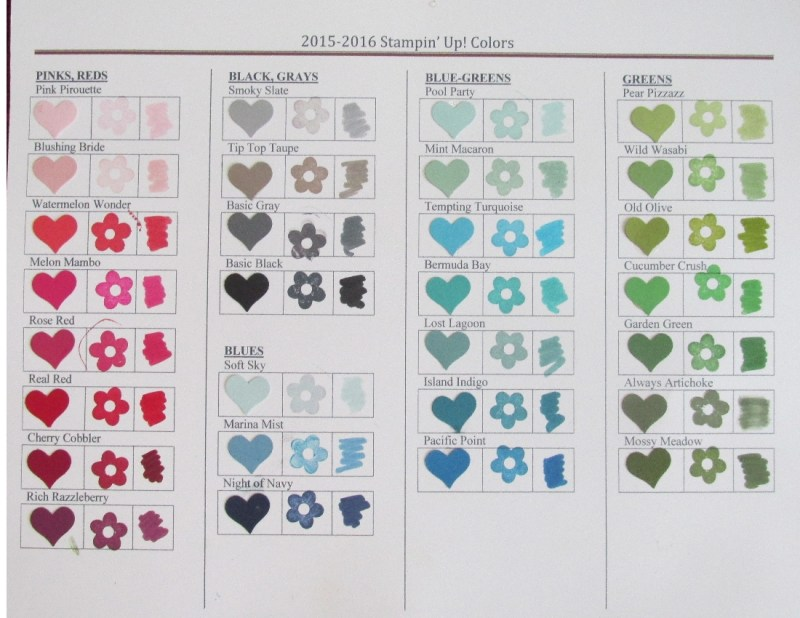 2-15-2016 Stampin' Up! Colors-Pinks & Reds, Black & grays, Blues, Greens
