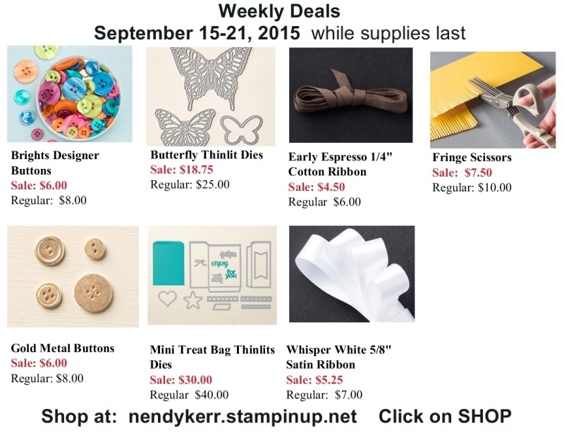 Stampin' Up! Weekly Deals September 15-21, 2015