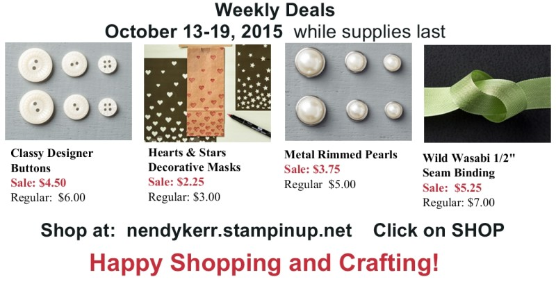 Stampin Up! Specials for October 13-19, 2015