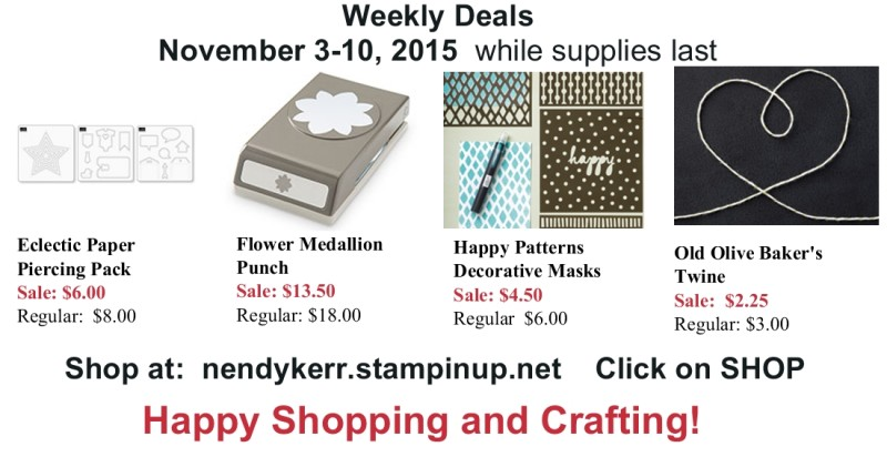 Stampin' Up! Weekly Deals for November 3-10, 2015