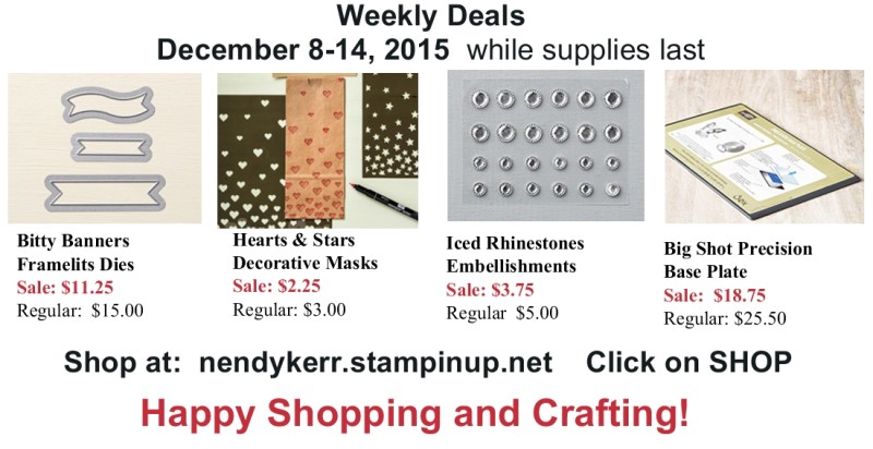 Stampin' Up! Weekly Deals December 8-16, 2015
