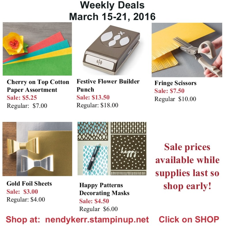 Stampin' Up! Weekly Deals Sale for March 15-21, 2016