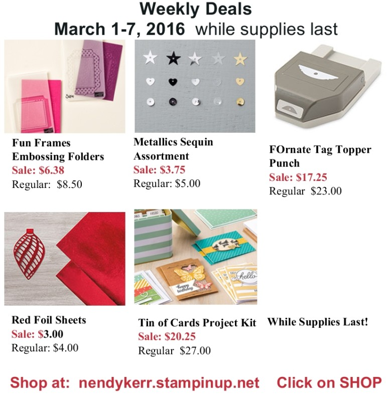 Save with Stampin' Up! Weekly Deals!