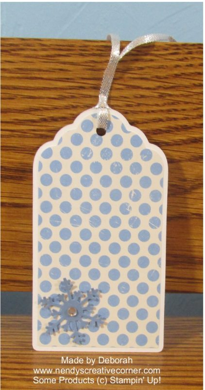 Blue Snowflake polka dot Christmas Tag