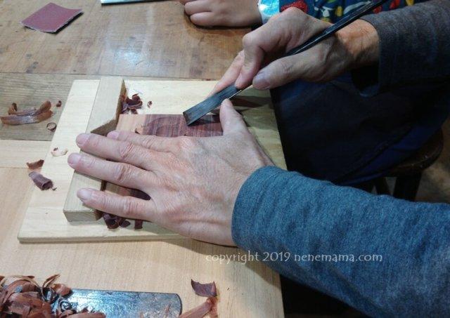 陳彫刻處COMMA体験での刀の使い方