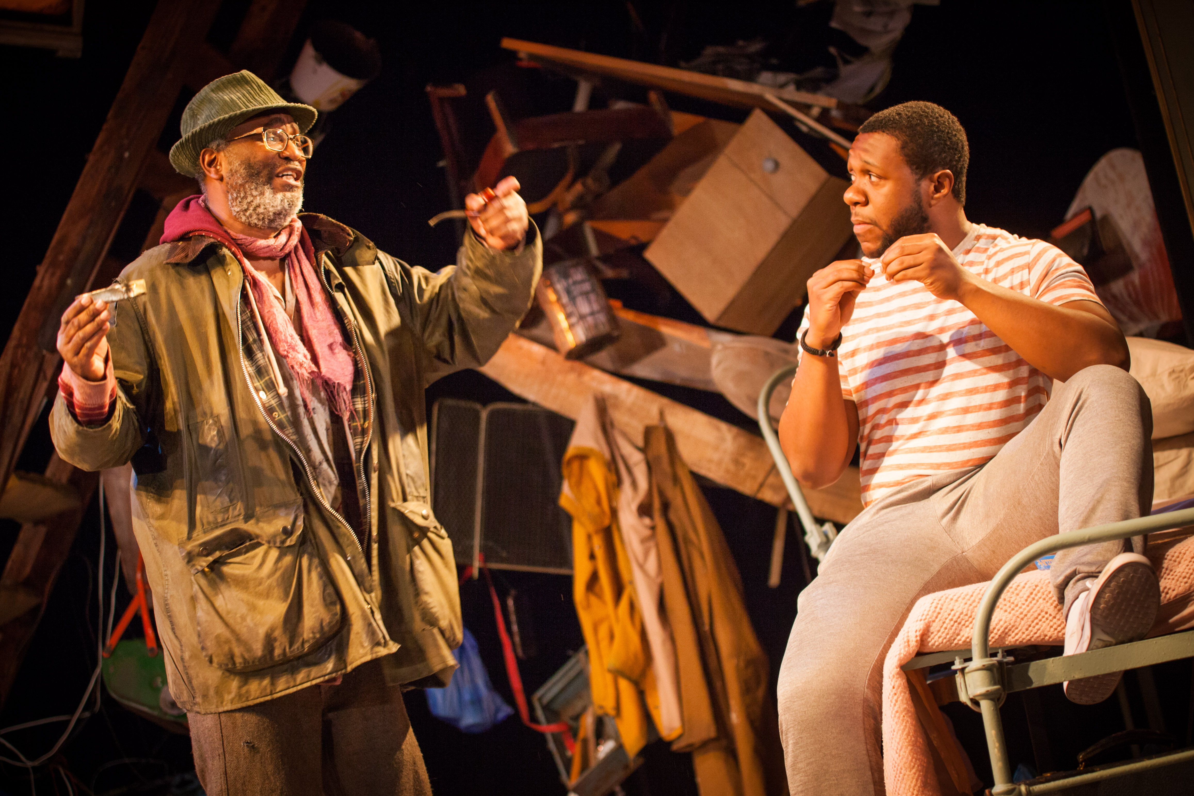 Patrice Naiambana (Davies) and Jonathan Livingstone (Aston) in The Caretaker. Photo by Iona Firouzabadi 8677