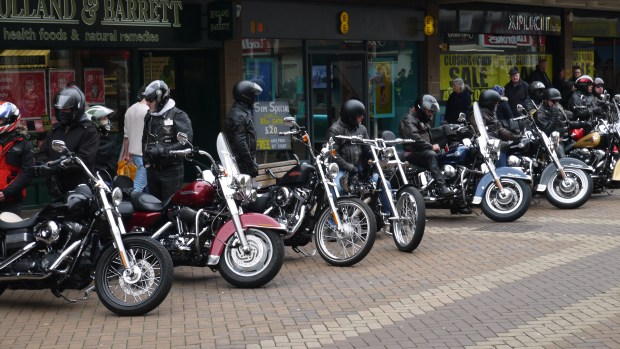 Bikers in a row