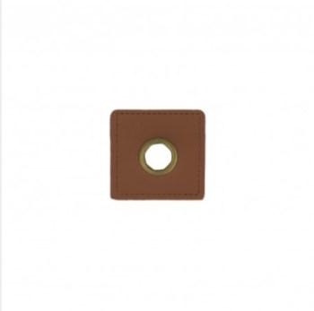 EYELET PATCH | Imitatieleer vierkant 10mm*4 - bruin