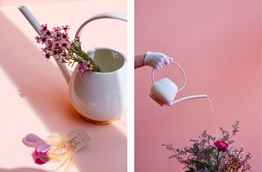 créations Stéphanie Goye arroisoir en porcelaine rehaussée d'or