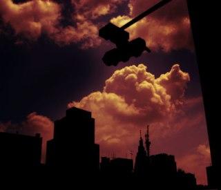 空とビルの写真素材