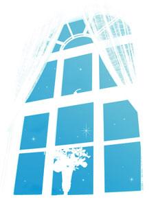 花の飾られた窓と星空(4パターン)