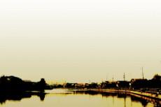 水辺の町並みの写真素材